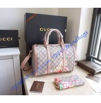 Gucci Blooms GG Supreme Boston Bag in Pink Leather Trim