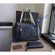 Gucci Soho Leather Shoulder Bag with Chain Straps