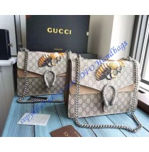 Gucci Dionysus GG Supreme Large Shoulder Bag with Bee Embroidery and Taupe Suede Detail