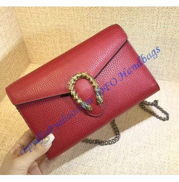 Gucci Dionysus Red Leather Mini Chain Bag