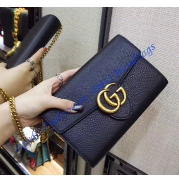 Gucci GG Marmont Black Leather Mini Chain Bag