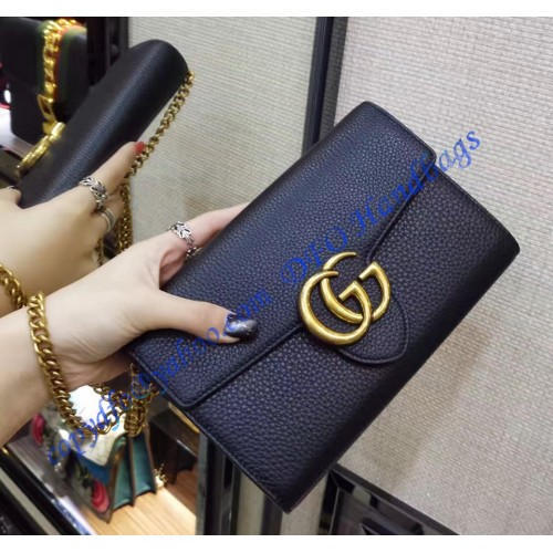99137f6f1bf5 Gucci GG Marmont Black Leather Mini Chain Bag. Loading zoom
