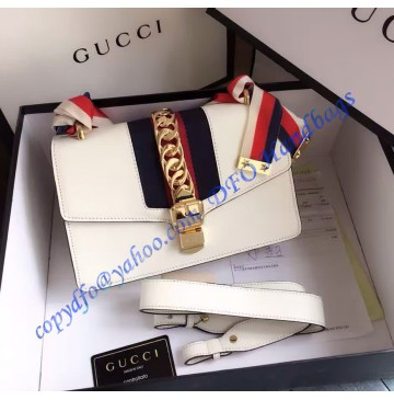 Gucci Sylvie Leather Shoulder Bag White