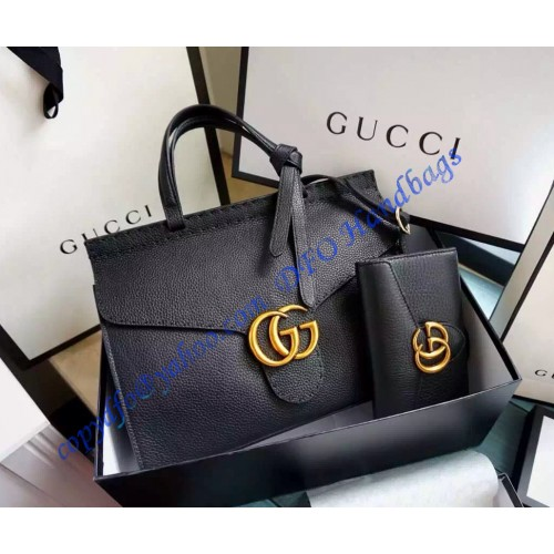 b0e2be170822 Gucci Small GG Marmont Leather Top Handle GU421890-black. Loading zoom