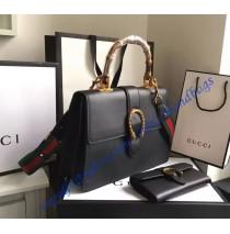 Gucci Dionysus Leather Top Handle Bag GU421999-Black