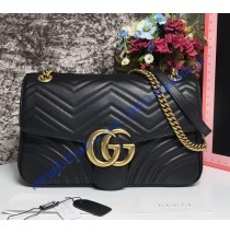 Medium GG Marmont Matelasse Shoulder Bag Black