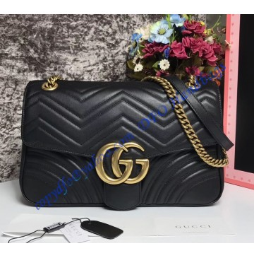 Gucci Medium GG Marmont Matelasse Shoulder Bag Black