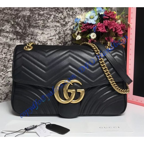 996dc312889 Gucci Medium GG Marmont Matelasse Shoulder Bag Black. Loading zoom