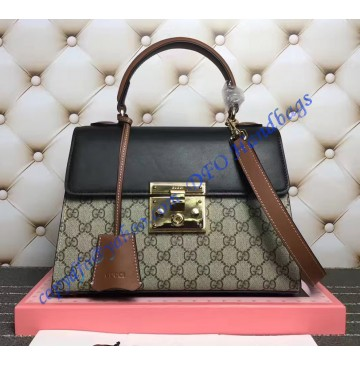 Gucci Padlock GG Supreme Top Handle Bag with Black and Brown Leather