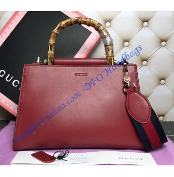 Gucci Nymphaea Leather Top Handle Bag Red