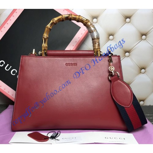 e3015f7c2 Gucci Nymphaea Leather Top Handle Bag Red. Loading zoom