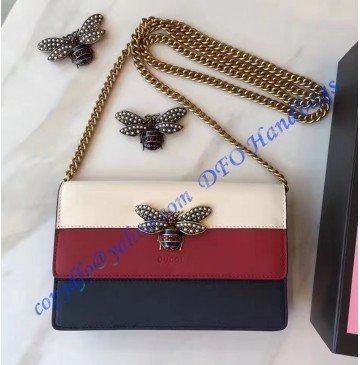 Gucci Queen Margaret Leather Mini Bag White Red Blue