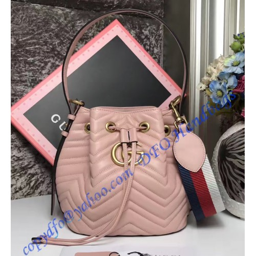 881c059c92c72a Gucci GG Marmont Quilted Leather Bucket Bag Pink. Loading zoom