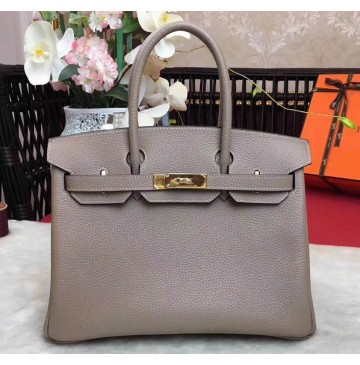 Hermes Birkin Bag 35cm in Gris Tourterelle Togo leather Golden Hardware