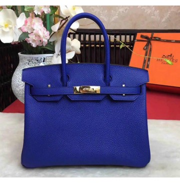 Hermes Birkin Bag 35cm in Bleu Electrique Togo Leather Golden Hardware