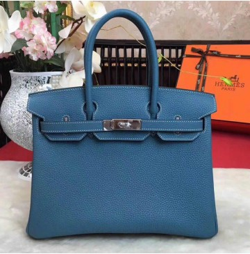 Hermes Birkin Bag 35cm in Blue Jean Togo leather Palladium Hardware