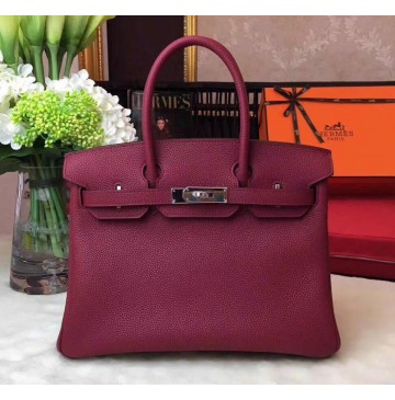 Hermes Birkin Bag 35cm in Bordeaux Togo leather Palladium Hardware