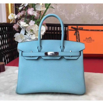 Hermes Birkin Bag 35cm in Ciel Togo leather Palladium Hardware