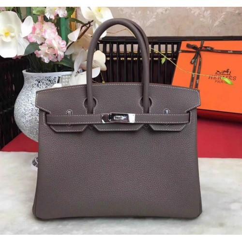 Hermes Birkin Bag 35cm In Etoupe Togo Leather Palladium Hardware