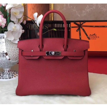 Hermes Birkin Bag 35cm in Rouge Garance Togo leather Palladium Hardware