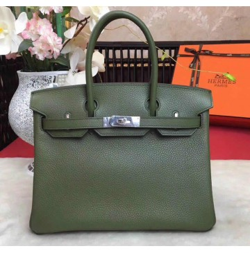 Hermes Birkin Bag 35cm in Vert Bronze Togo leather Palladium Hardware