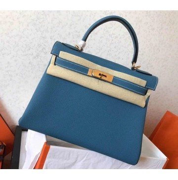 Hermes Kelly 32cm in Blue Jean Togo Leather Golden Hardware