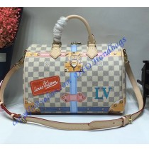 Louis Vuitton Trompe L'oeil Screen Damier Azur Speedy 30 N41063
