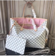 Louis Vuitton Damier Azur Neverfull GM with Pink Lining N41604
