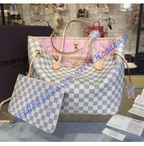 Louis Vuitton Damier Azur Neverfull MM with Pink Lining N41605