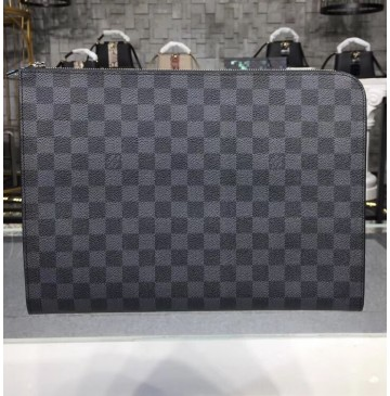 Louis Vuitton Damier Graphite Pochette Jour GM with Black Lining N64437