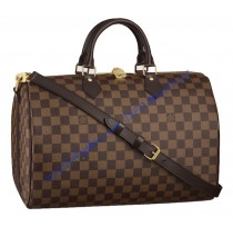 Louis Vuitton Damier Ebene Speedy 35cm with shoulder strap bandouliere N41182