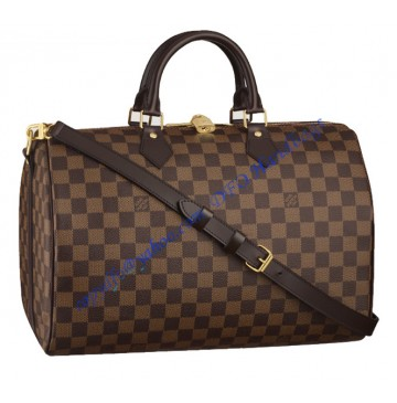 Louis Vuitton Damier Ebene Speedy 35cm with shoulder strap bandouliere N41182