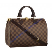 Louis Vuitton Damier Ebene Speedy 30cm with shoulder strap bandouliere N41183