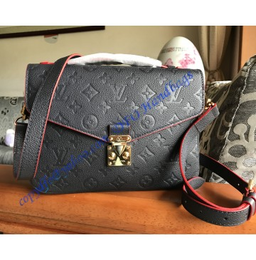 Louis Vuitton Monogram Empreinte Pochette Metis Blue Black