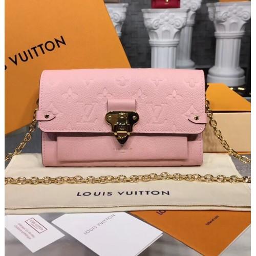 c67d2fbff2084 Louis Vuitton Monogram Empreinte Vavin Chain Wallet Pink M63399
