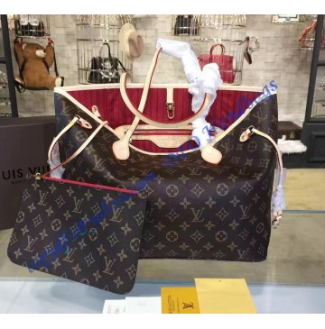 Louis Vuitton Monogram Canvas Neverfull MM with Cherry Lining M41177