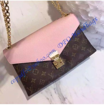 Louis Vuitton Monogram Canvas Pallas Chain with Light Pink leather