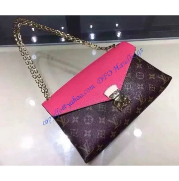 Louis Vuitton Monogram Canvas Pallas Chain with Lip Pink leather