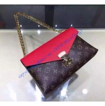 Louis Vuitton Monogram Canvas Pallas Chain with Red leather