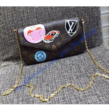 Louis Vuitton Monogram Canvas Pochette Felicie with Classic Hotel Stickers M63866