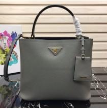 Prada Double Saffiano leather bag Gray