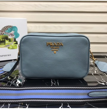 Prada Calf leather shoulder bag Light Blue