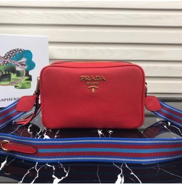 Prada Calf leather shoulder bag Red