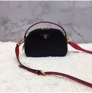 Prada Odette Saffiano leather bag Black Red