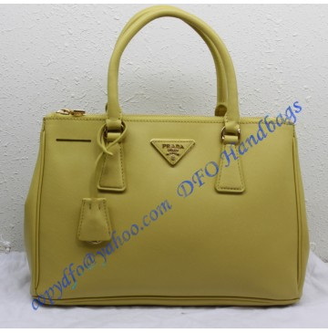 Prada Saffiano Leather Tote P1801 lemon yellow