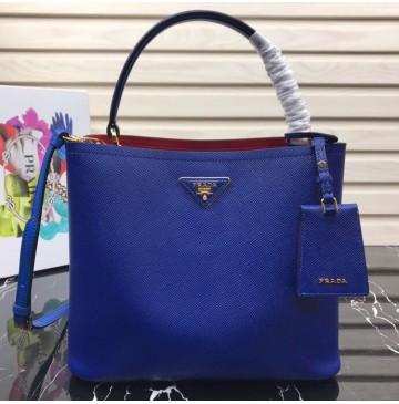 Prada Double Saffiano leather bag Royal Blue