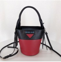Ouverture nylon bucket bag Red Black