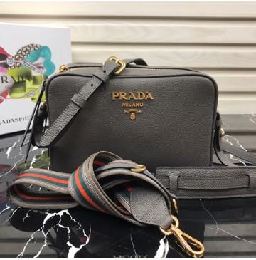Prada Calf leather shoulder bag Gray