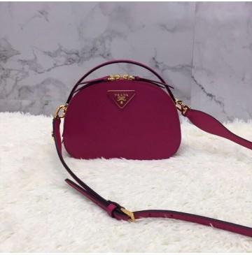 Prada Odette Saffiano leather bag Rose Red