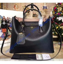 Prada Black Saffiano Cuir Double Bag with Pink Leather Lining